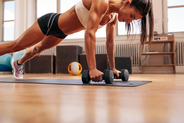 Push-ups with upright row