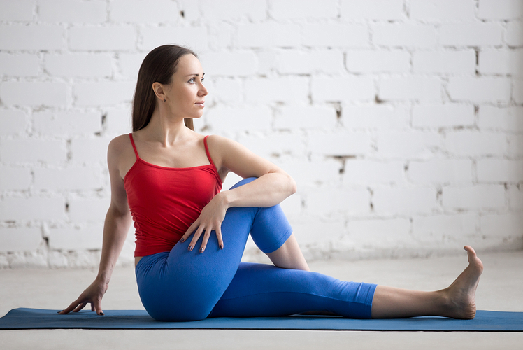 Example of seated twist yoga pose