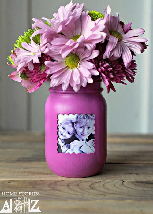 Mason Jar Photo Vase