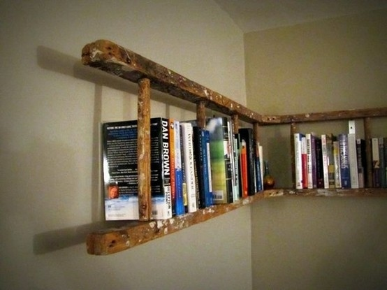 Turn old ladders into bookshelves