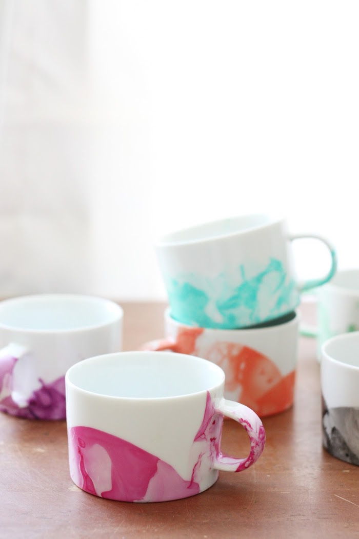 Marbled Mugs with Nail Polish