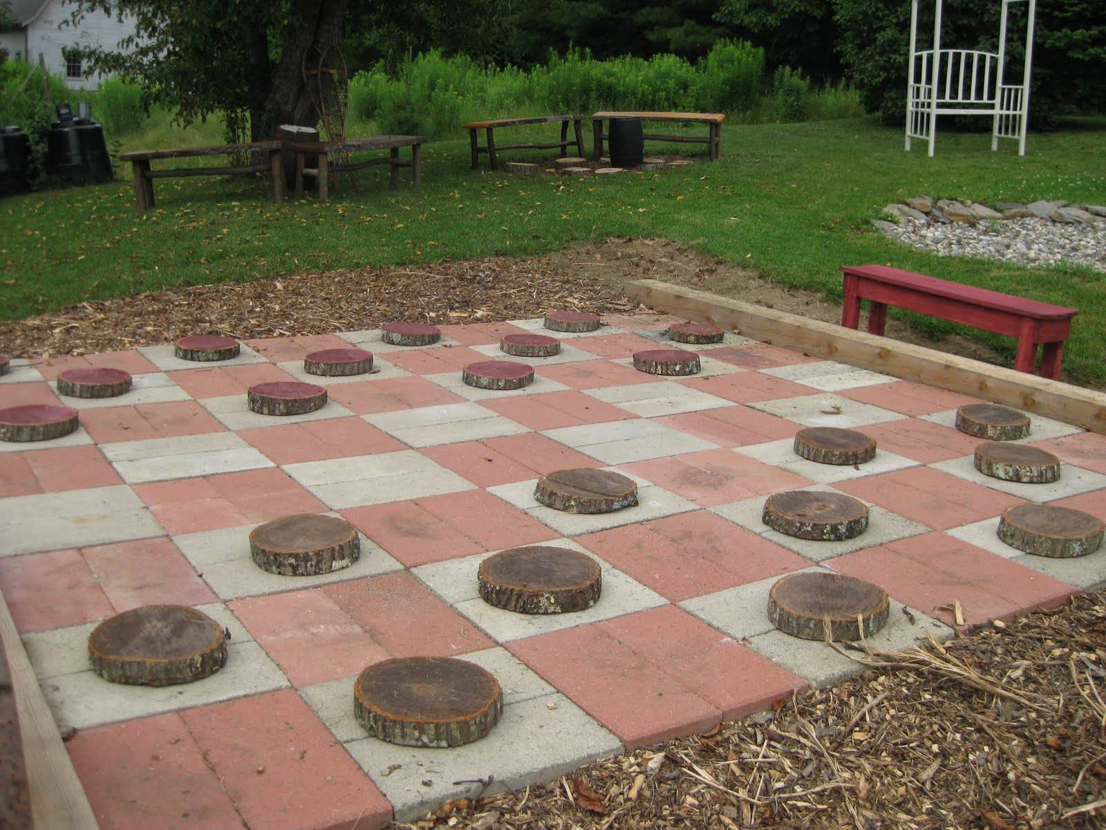 Life-sized backyard checkers or chess