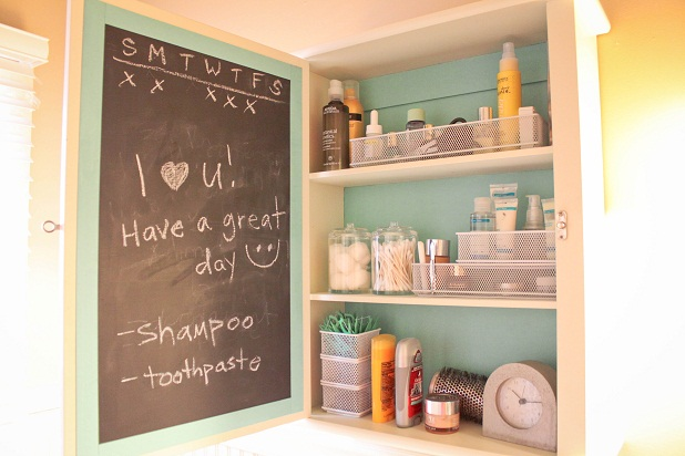 Paint a blackboard on the inside of a cupboard door