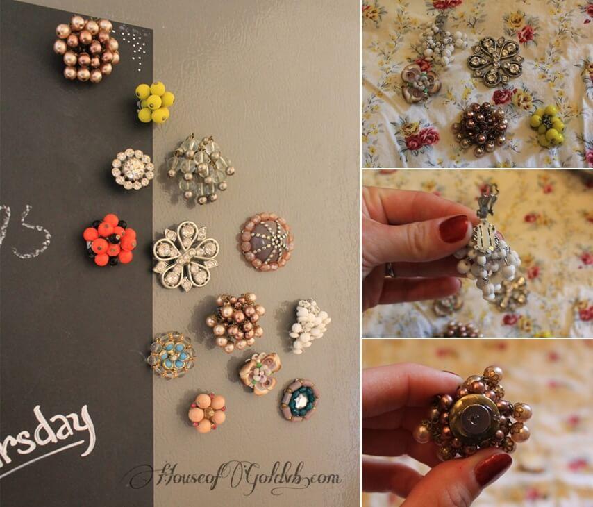 Broken jewelry into fridge magnets