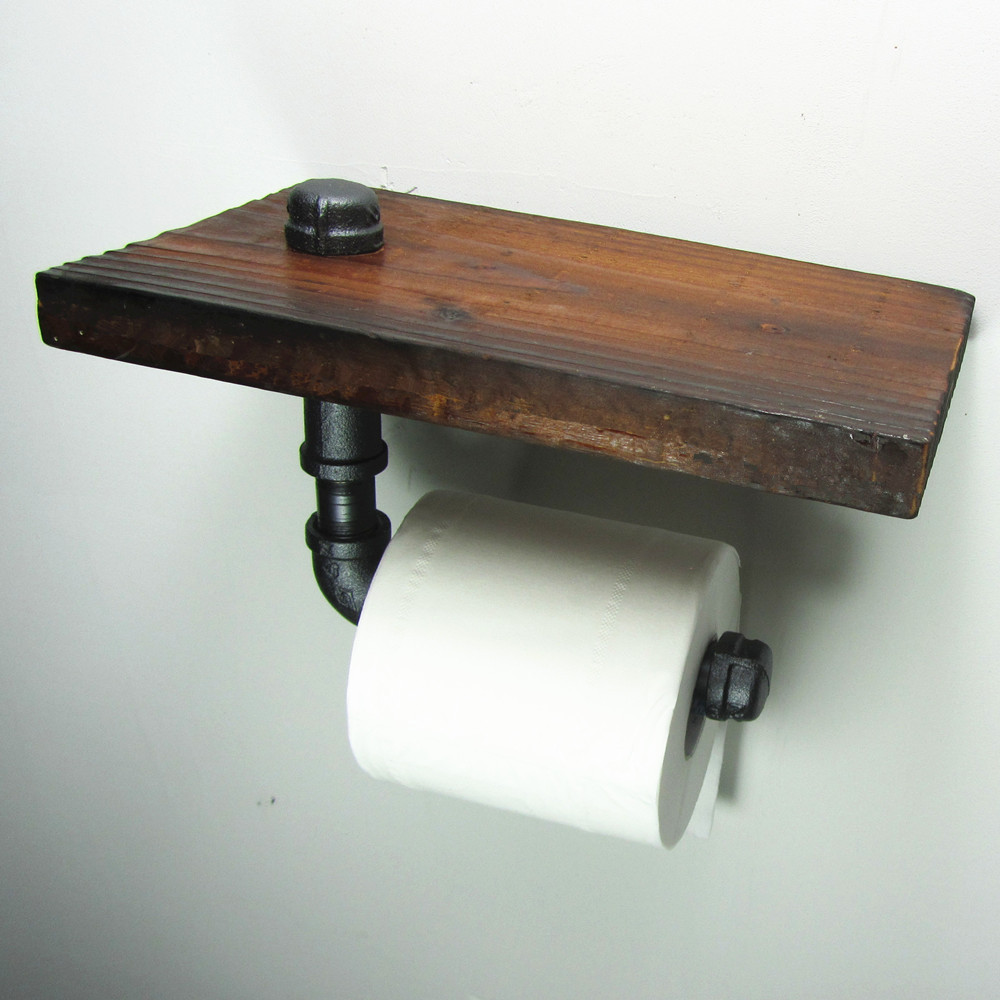 Construct a toilet paper holder shelf