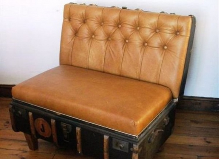 Transform a vintage suitcase into a chair