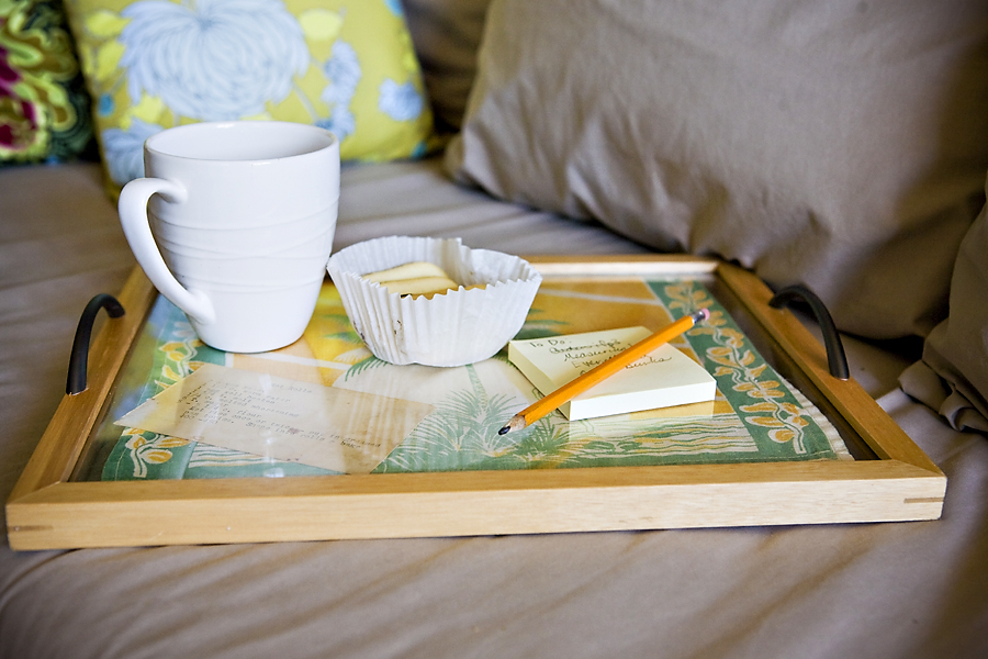 Turn an old picture frame into a tray
