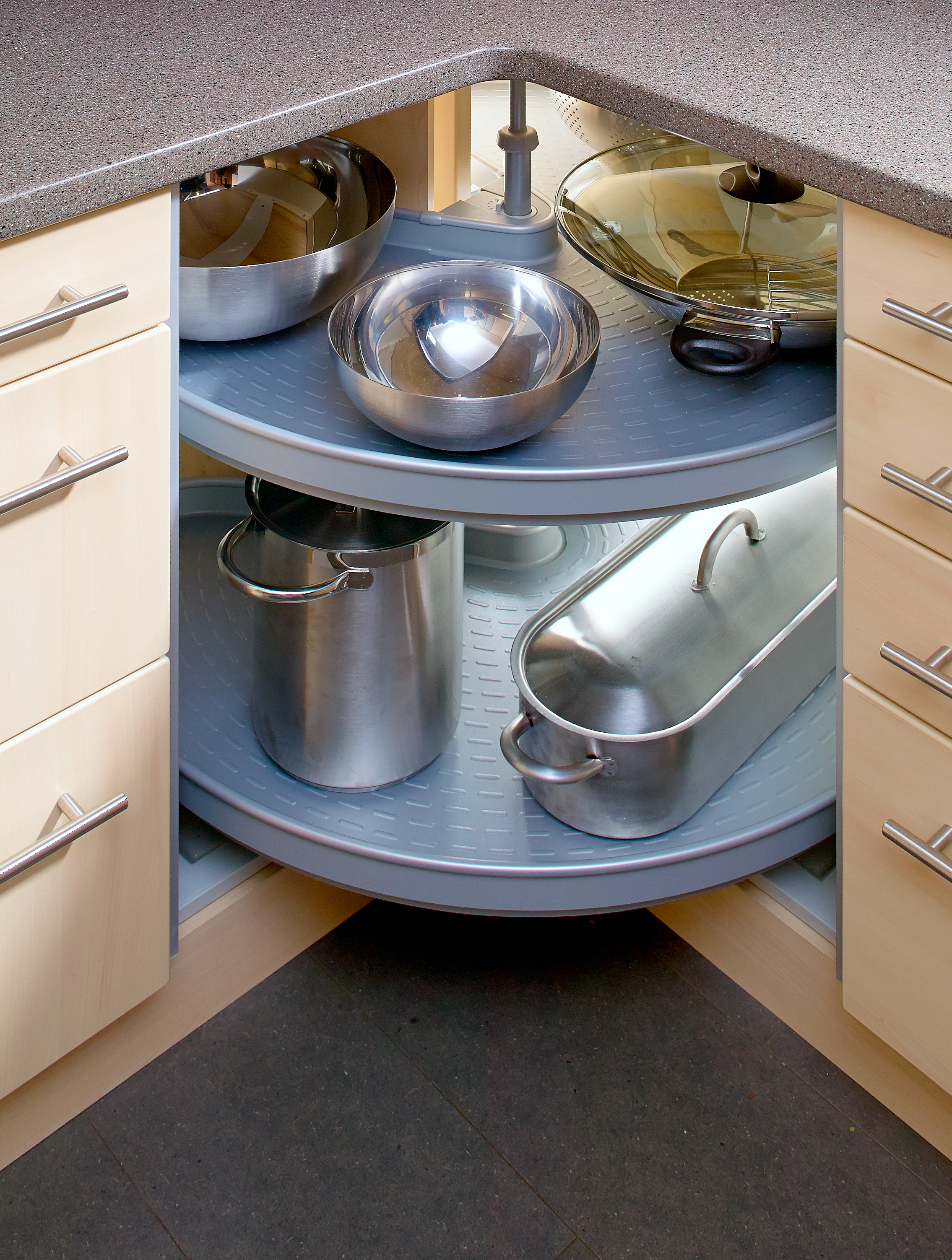 Store your pots and pans in corner cupboards