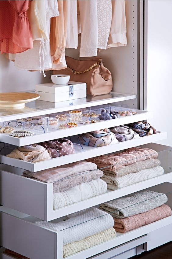 keep your everyday essentials at eye level in the closet for easier access