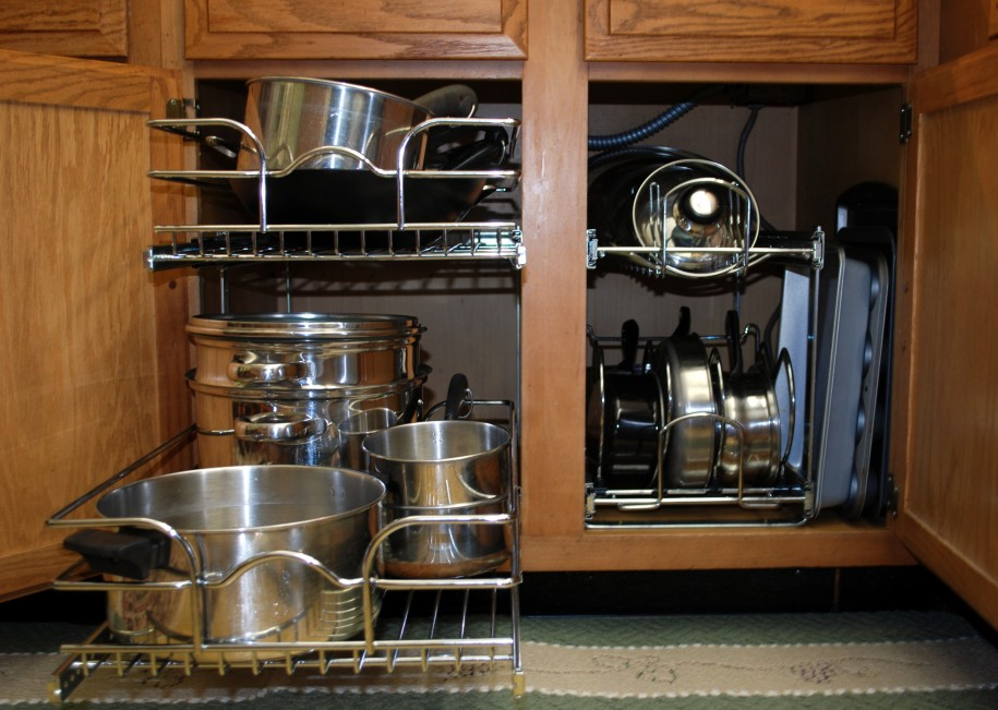 Use customs racks to store your pots and pans