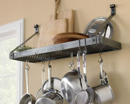 Store your pots and pans on floating shelves