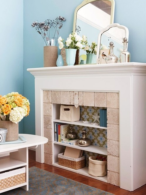 Create a new space with shelving in your unused fireplace