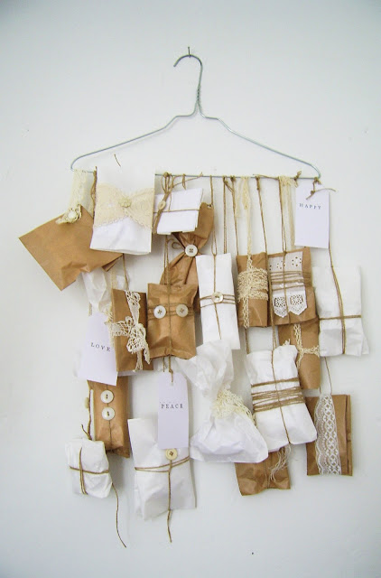 Clothes hanger advent calendar