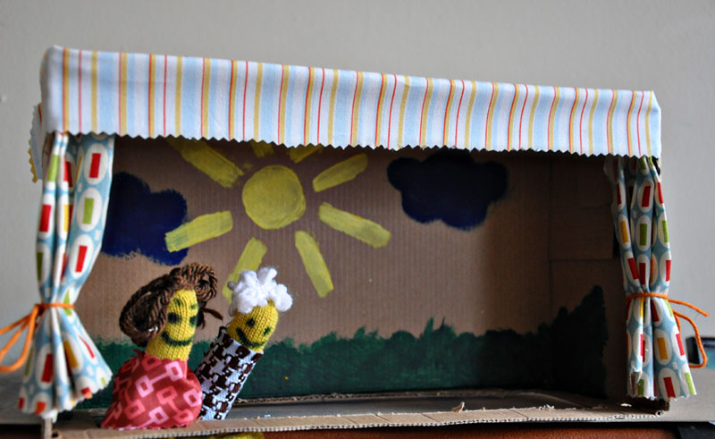 Shoebox puppet theater