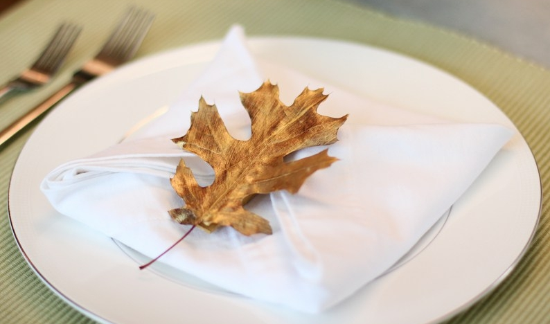 gold leaf napkin holder