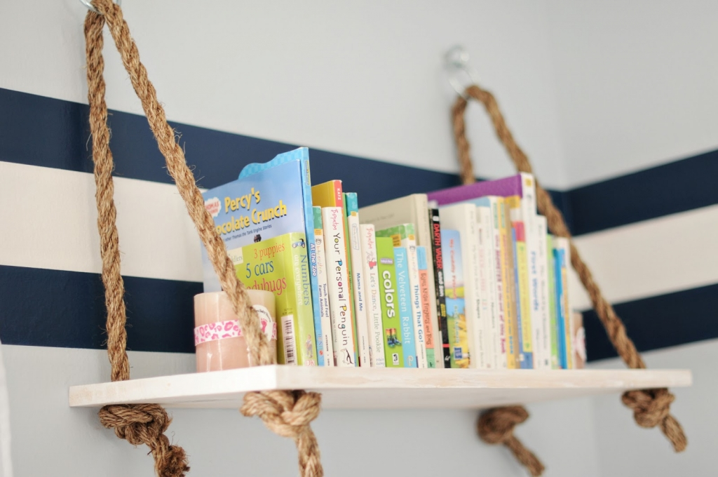 hanging rope bookshelf