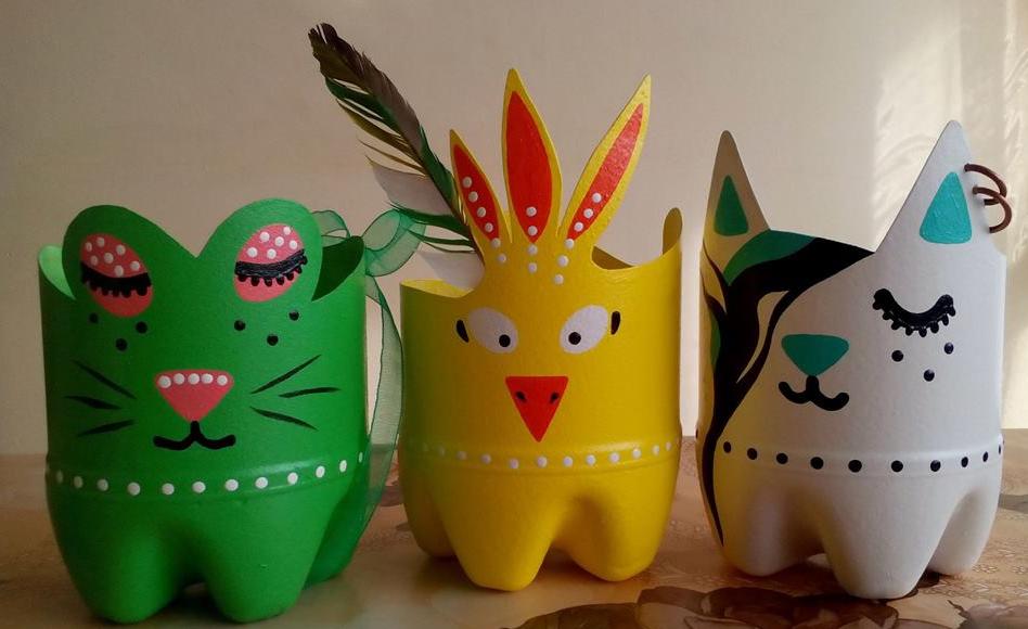 plastic bottle flower pots