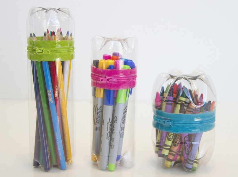 plastic bottle pencil case