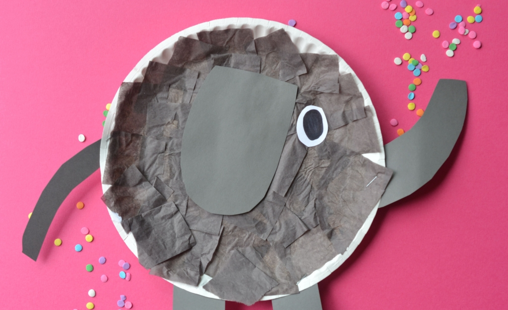 paper plate elephant