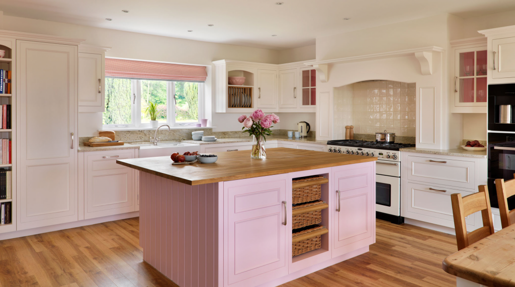 dusty pink kitchen