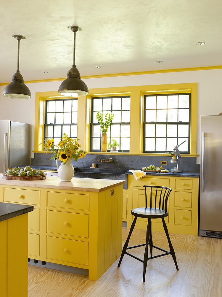 mustard yellow kitchen