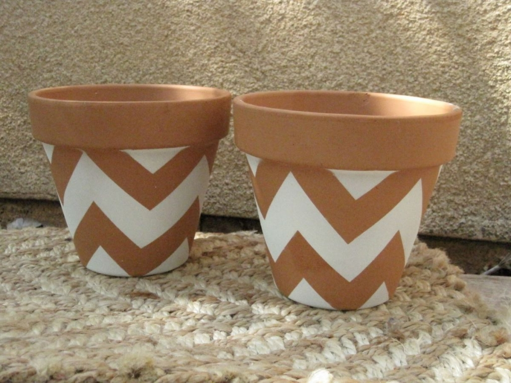 Chevron Patterned Pots