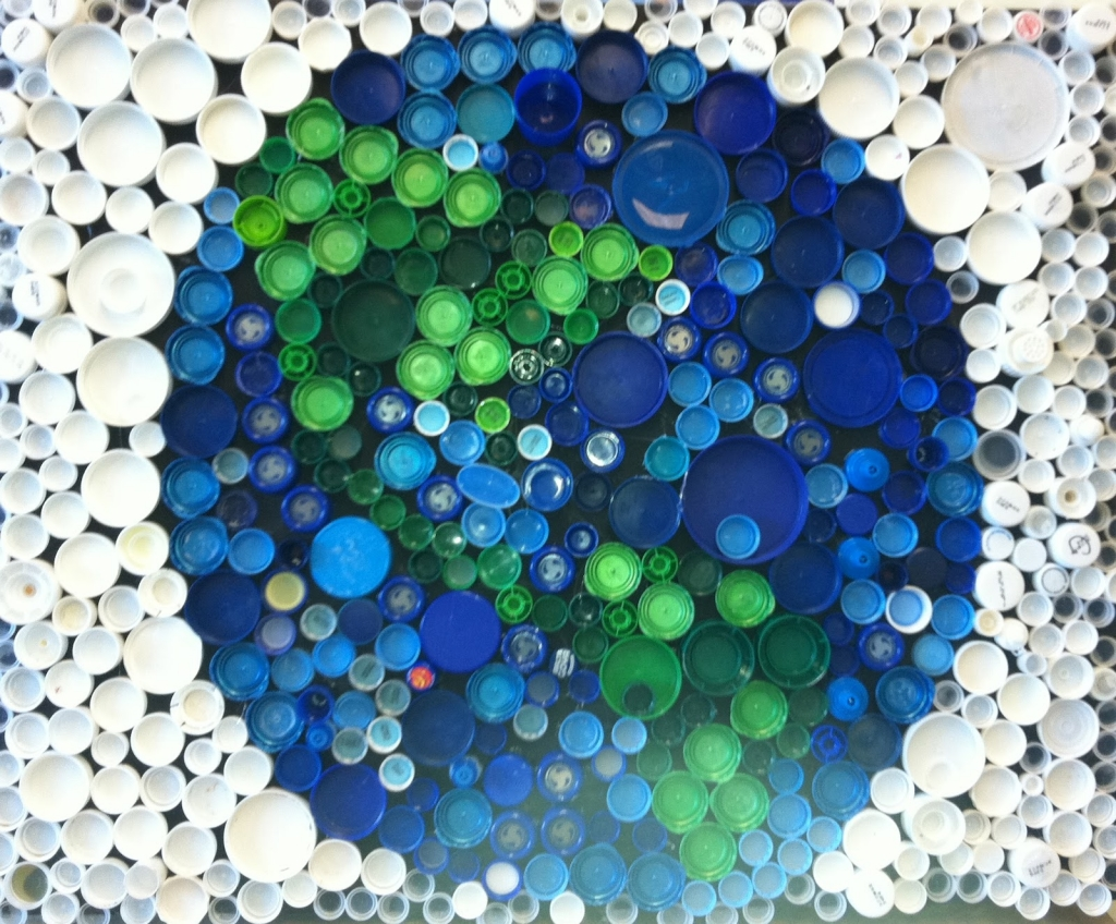 Earth Day Art Created From Bottle Tops