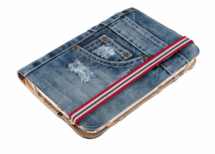 A tablet cozy from an old pair of jeans