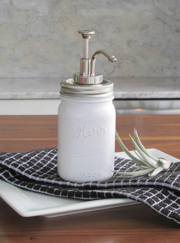 Make soap dispensers from glass bottles