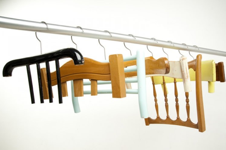 broken chairs into clothes hangers
