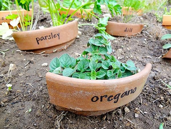 broken pots as garden markers