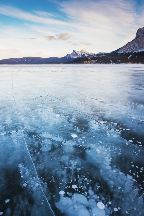 Flammable Ice Bubbles, Lake Abraham, Alberta, Canada