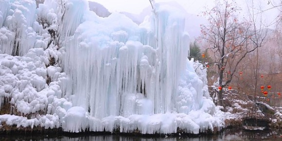 Frozen waterfalls in Taihang Mountain, Hebei Province, China