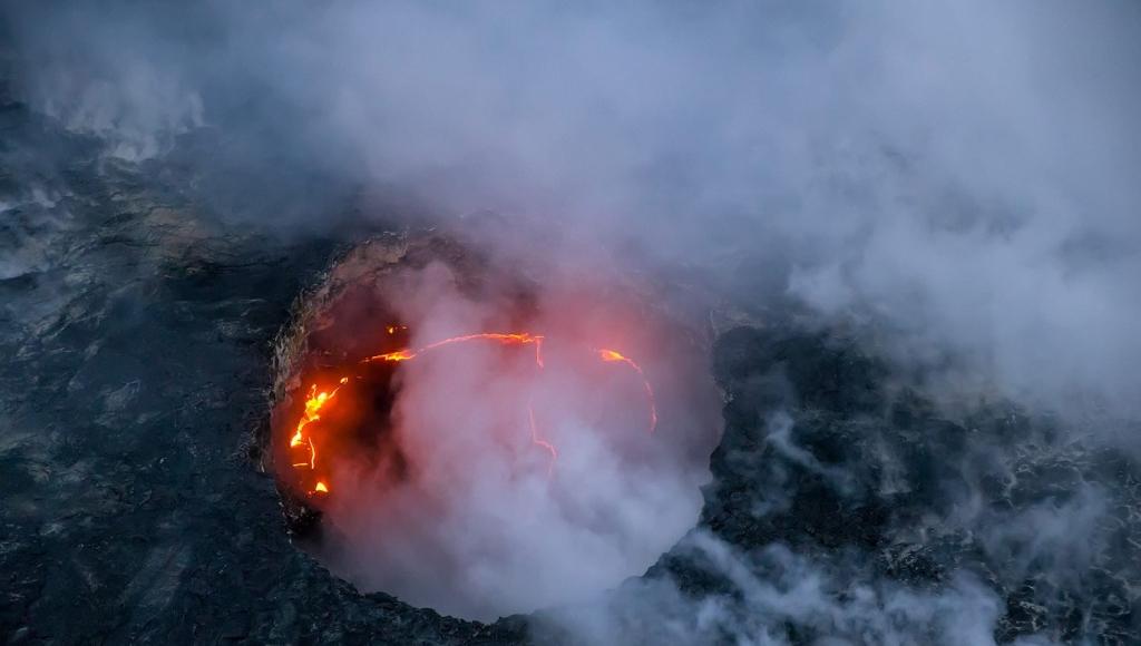 Caldera of Kilauea lava flow