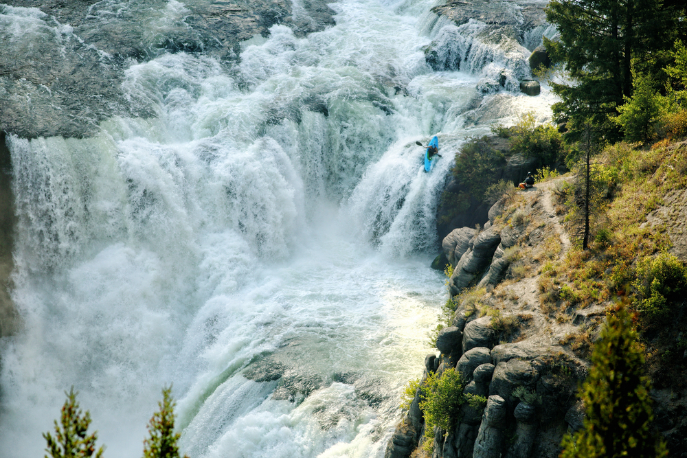 Kayak Over a Waterfall, United States