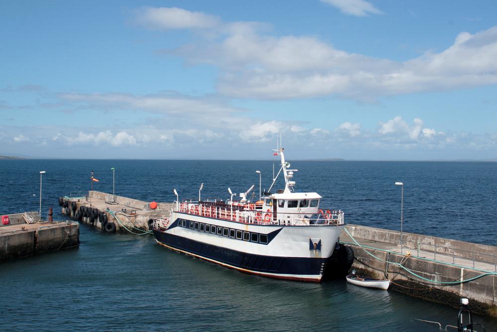 Orkney ferry in John o Groats harbor