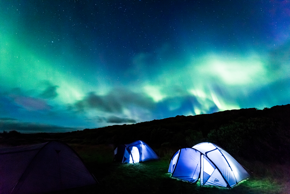 camping northern lights
