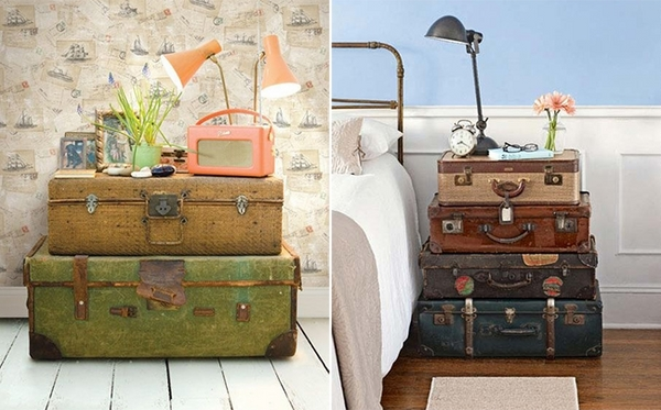Turn vintage suitcases into a nightstand
