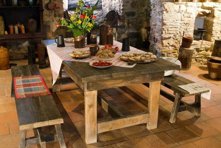Build rustic wooden benches and table