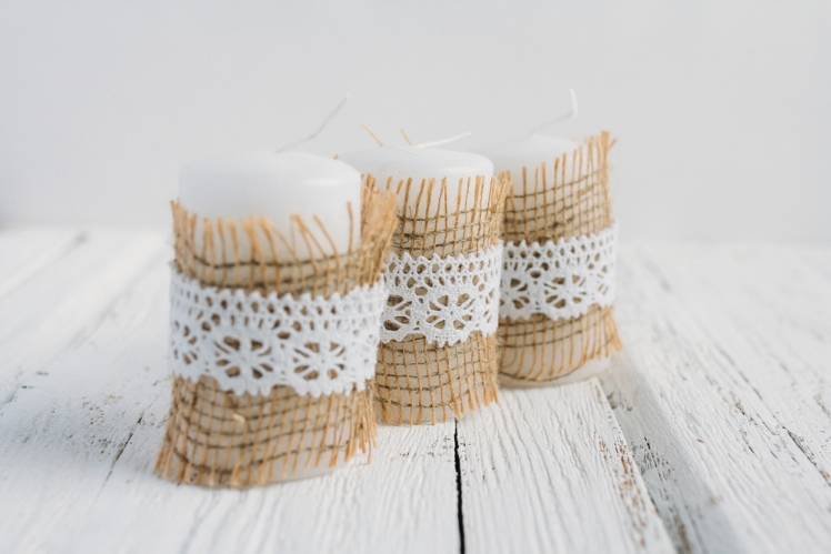 Stencilled Burlap Candle Holders