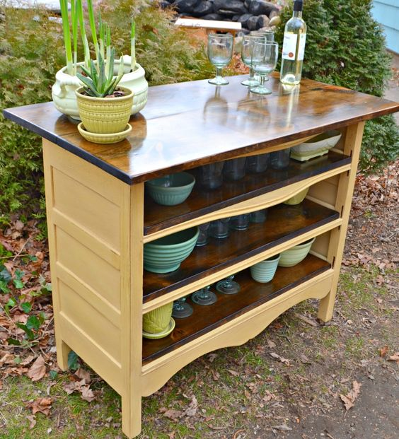 Repurposed Antique Dresser As A Kitchen Island With A: Creative DIY Projects That Cost $20 Or Less