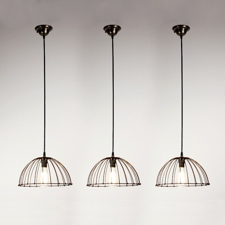 Pendent lights from wire baskets