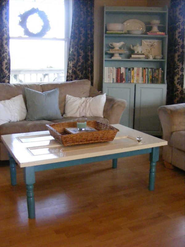 Create a coffee table out of an old door frame