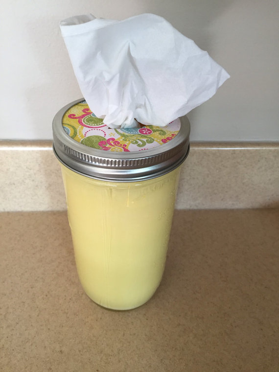 Decorate mason jar tissue holders