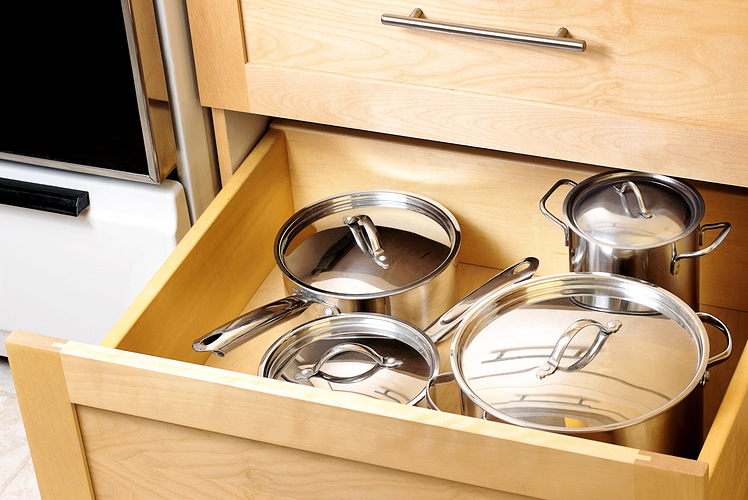 Store your pots and pans in deep drawers