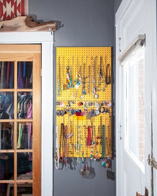 a pegboard can provide a simple way to hang and organise your accessories
