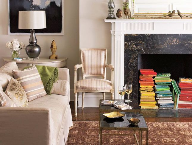 Book Storage in an unused fireplace