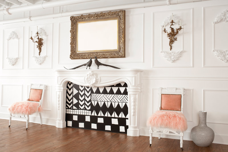 graphic Screens are a great way to cover an unused fireplace