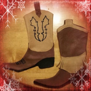 Cow Boy Boot Stocking