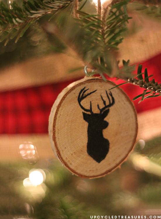 deer-silhouette-diy-wood-slice-christmas-ornament-upcycledtreasures